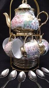 20 Pc Chinese Tea Set Tea Pot 6 Cups 6 Saucer Rack Multi Teapot Coffee 3 oz Cups