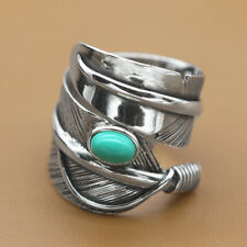 925 Sterling Silver Men's Feather Adjustable Ring Size 10 A3320