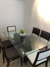 Dining Set - Espresso Wood Glass Top Table With Six Chairs