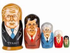 "5.5"" Putin and Trump Nesting Dolls Russian Doll Matryoshka Handmade Russia 5 pcs"
