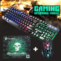 Rainbow RGB Gaming Keyboard Set LED Backlit Mechanical Feeling Wired PC Computer