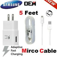 For OEM Samsung Galaxy S7 S6 J7 Edge Note5 Fast Adaptive Wall Charger Cable Cord