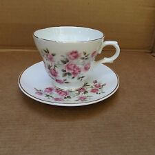Crown Trent Fine Bone China Cup & Saucer – Staffordshire, England – Pink Roses