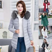 Womens Winter Warm Fur Collar Hooded Long Coat Jacket Slim Parka Outwear Coats