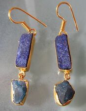 14K Gold plated brass rough lapis lazuli and apatite earrings.