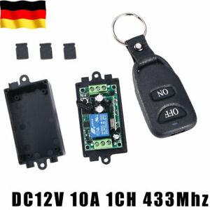 DC12V 10A 1CH 433Mhz Funk Empfänger Relais Schalter mit Fernbedienung schwarz