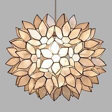 Large White Capiz Shell Lotus Petal Pendant Hanging Lampshade Handmade, 18.9 Dia