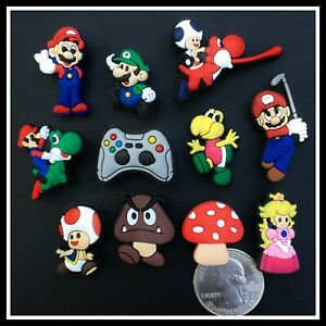SET of 11 Shoe Charms for Crocs MARIO Controller Luigi Goomba Toad Yoshi Peach