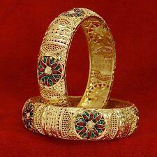 Ethnic Bollywood Gold Plated Kada Jewelry Traditional Bangle Bracelet Set 2*10