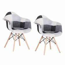 2x Sillas de comedor tapizadas Sillón decorativo Sillón Lounge Patchwork Gris