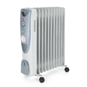 PureMate® 2500W Oil Filled Radiator, 11 Fins - Heater with Timer & Thermostat
