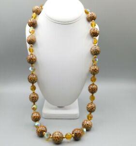 "JOAN RIVERS Animal Print Bead+ Jonquil Yellow Glass Bead Goldtone 30"" necklace"