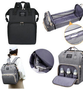 Baby Portable Sleeping Bed In Backpack 3in1 Diaper Nappy Changing Bag Travel UK
