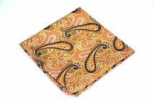 Lord R Colton Masterworks Pocket Square - Gold & Black Map Of Head Silk $75 New