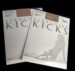 Berkshire Kicks Stockings Sandalfoot A-B Nude Made in USA Vintage 1988 Silky