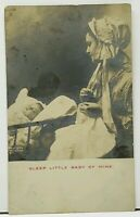 RPPC Mother and Baby, 1904 Sleep Little Baby of Mine Real Photo Postcard H14