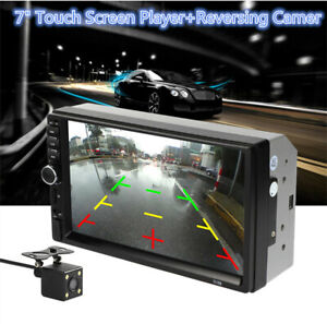"""7"""" HD Touch Screen Car Stereo Player 2 DIN BT Mirror Link AUX+Reversing Camera"""