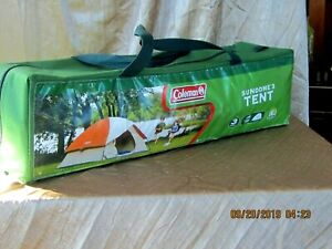 COLEMAN 3 PERSON DOME TENT FOR CAMPING SUNDOME TENT w/EASY SET UP ORANGE & WHITE