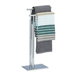 Towel Stand, 2 rails, Towel Holder, Chromed, Towel Rack Stand Freestanding Valet