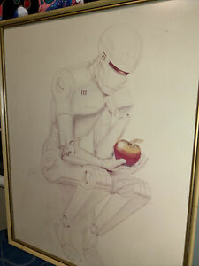 """Apple Macintosh ULTRA RARE August 1981 Poster """"Contemplating a Byte"""""""