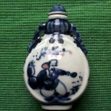 Old Blue and White Pottery Chinese Japanese Snuff Perfume Bottle Fired Glaze G