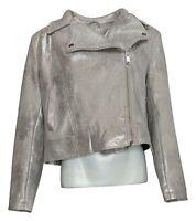 G By Giuliana Women's Sz L Faux Suede Moto Jacket Silver 674049