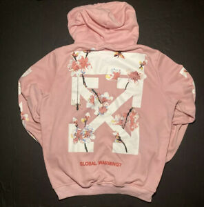 Off White Virgil Abloh Main Label Hoodie XXL Pink 2013 Global Warming Blossoms