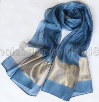"NEW 100% Pure Silk Plain Long Scarf Oblong Solid Wrap Soft Blue 70x25"""