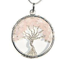 """CHARGED Natural Rose Quartz Tree of Life Perfect Pendant™ REIKI 20"""" Silver Chain"""