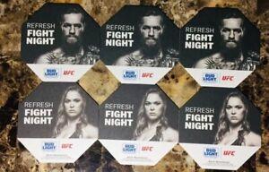CONOR MCGREGOR & RONDA ROUSEY (UFC FIGHT NIGHT!) 6 PIECE COASTER SET! BUD LIGHT!