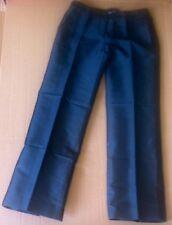 AMANDA WAKELEY Olive Green Thick Silk Wide Leg Evening Trousers UK12 satin