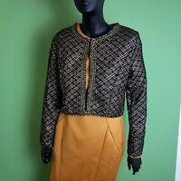 Womens Bolero Jacket Black and Gold Blazer UK 14-16 Cropped