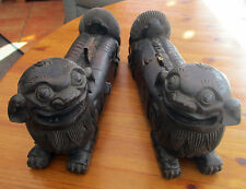 Rare Antique 18/19c Pair Of Chinese  Hand Carved  Wooden Dogs Of Foo