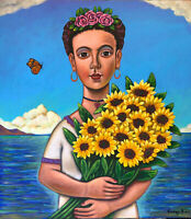 """whimsical painting  Frida Kahlo by Mexican Artist German Rubio 32"""" x 36"""""""