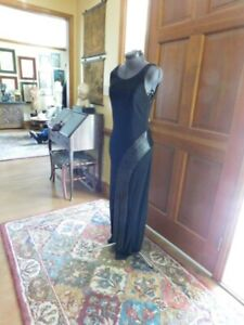 """""""J.RIBKOFF"""" BLACK JERSEY FITTED FORMAL GOWN MOTHER/FORMAL WITH BEADED FRINGE S 8"""