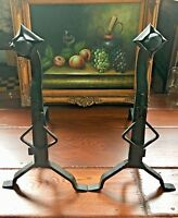 Vintage Pair of Arts & Crafts Iron Andirons Fireplace Tools Firedogs Excellent