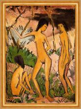 3 Frauenakte Erotik Kunst Natur Expressionismus Otto Mueller A2 Gold 12
