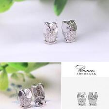Crystal Women Ear Studs Earrings Owl Silver Plated
