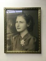 Vintage 8x10 Brass 1940 Frame with Pretty Young Woman Photo Easel Back