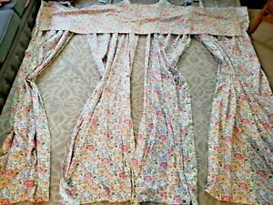 Laura Ashley floral.curtain drapes 4 piece .2 pairs and one valance