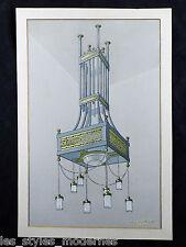 JUGENDSTIL Deckenlampe Entwurf ° Aquarell ° Kunstschlosser Wilh.Caspari um 1910