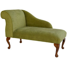 """41"""" Classic Mini Chaise Longue in Topaz Lime Fabric on 9"""" Queen Anne Style Legs"""