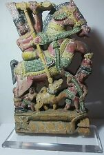 Indian Chief on Horse Statue Hand Carved On Both Sides From India Vintage