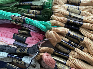 Mixed Colors Lot 42 Skeins DMC Cotton Embroidery Floss UNUSED Greens Tan Pinks+