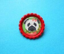 Handmade Christmas Pug Dog Badge Bottle Cap Brooch Face Puppy Red Green