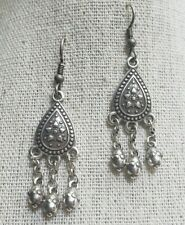 Brighton Silver Dangle Earrings Indian Inspired Mehndi Boho Retired HTF