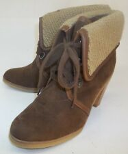 American Eagle Outfitters Wos Boots Ankle US 6 Brown Vegan Suede Lace-Up Heels