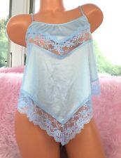 VTG California Blue Satin Nylon Scalloped Lace Fancy Half Slip Camisole Top sz S