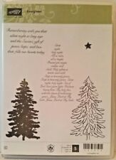 Stampin Up EVERGREEN clear mount stamps holiday Christmas tree Pine script