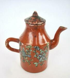 """Antique Chinese Red Ground Teapot  w/ lid Porcelain Floral Red Mark Small  5"""""""